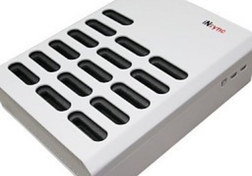 Parotec-IT charge & sync DL10 desktop desktop charging station with an autodocking and sync function for 16 iPods