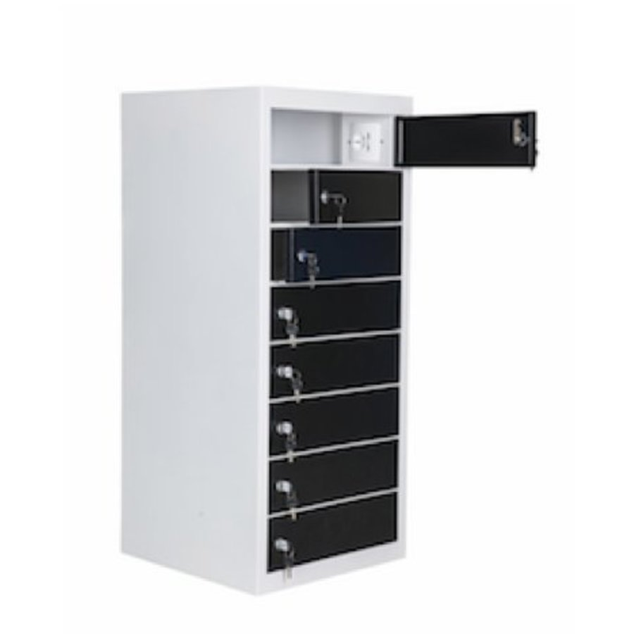 Freestanding locker, each bay is equipped with one 220V and two USB connectors. Each storage compartment has a code lock-2