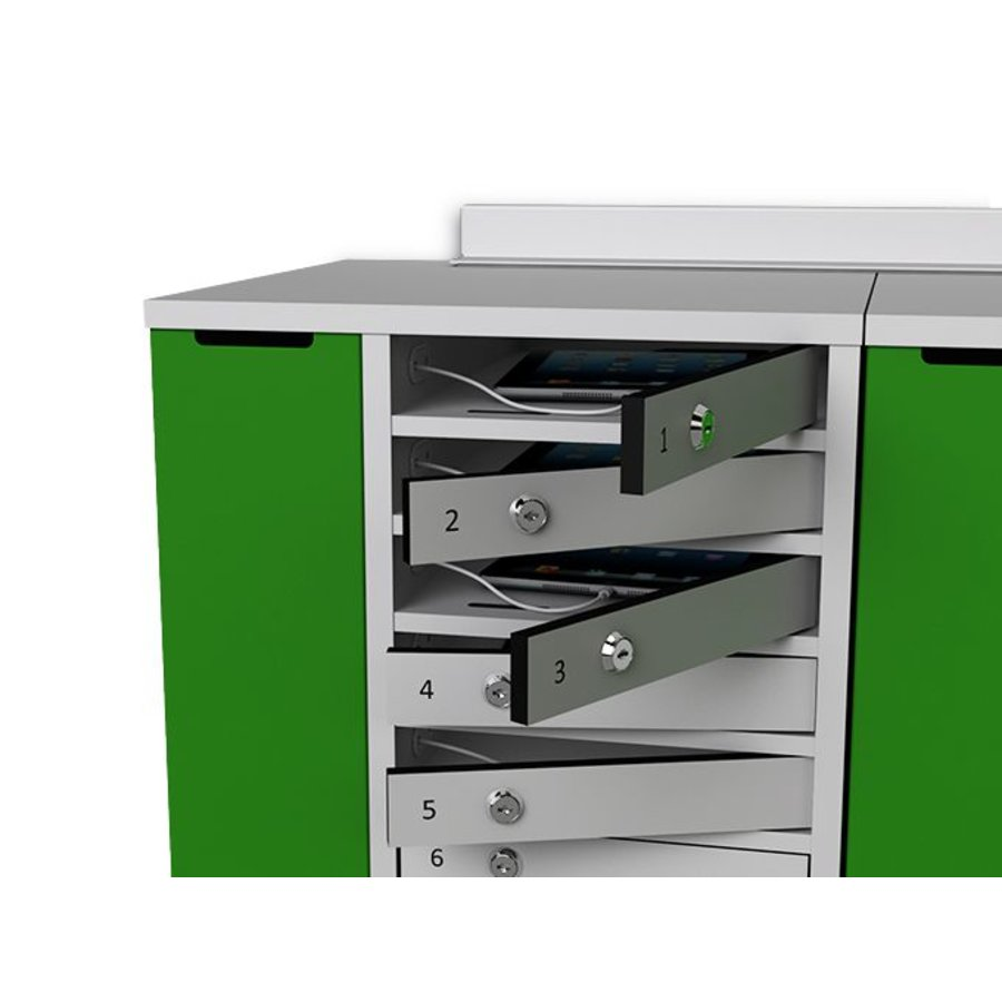 "Charging cabinet with 20 separate lockable compartments for tablets and iPads between 9""-11""-1"