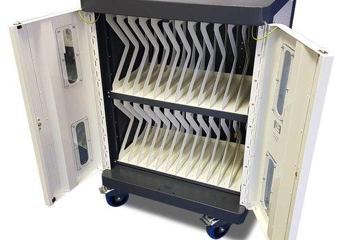Bravour Oplaadkar voor 24 iPads, tablets, notebooks, met wielen en slot