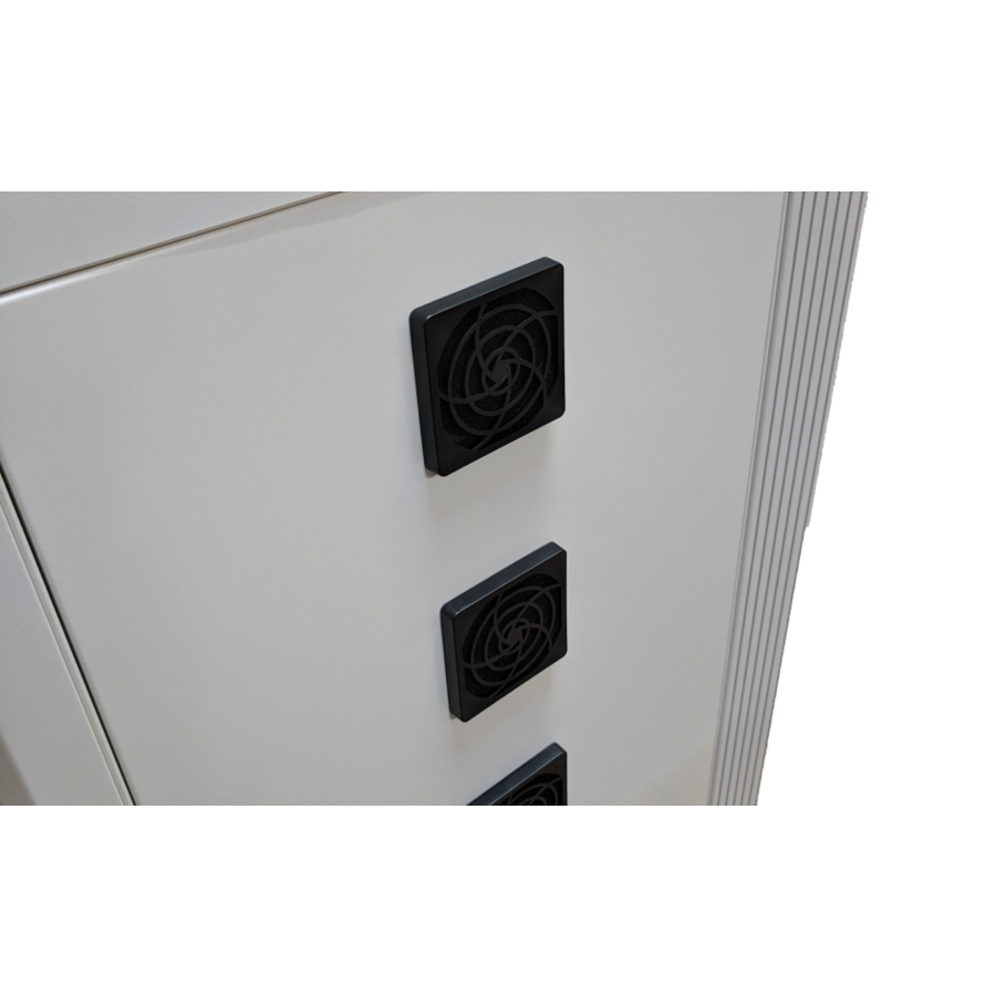 Mobile charging and synchronization station for 48 Tablets and iPads. Lockable cabinet on wheels with USB connectors to charge with one socket while storing.-5