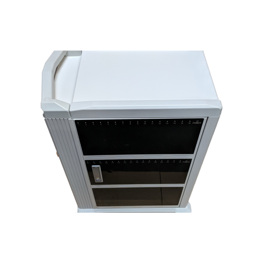 Mobile charging and synchronization station for 48 Tablets and iPads. Lockable cabinet on wheels with USB connectors to charge with one socket while storing.-6