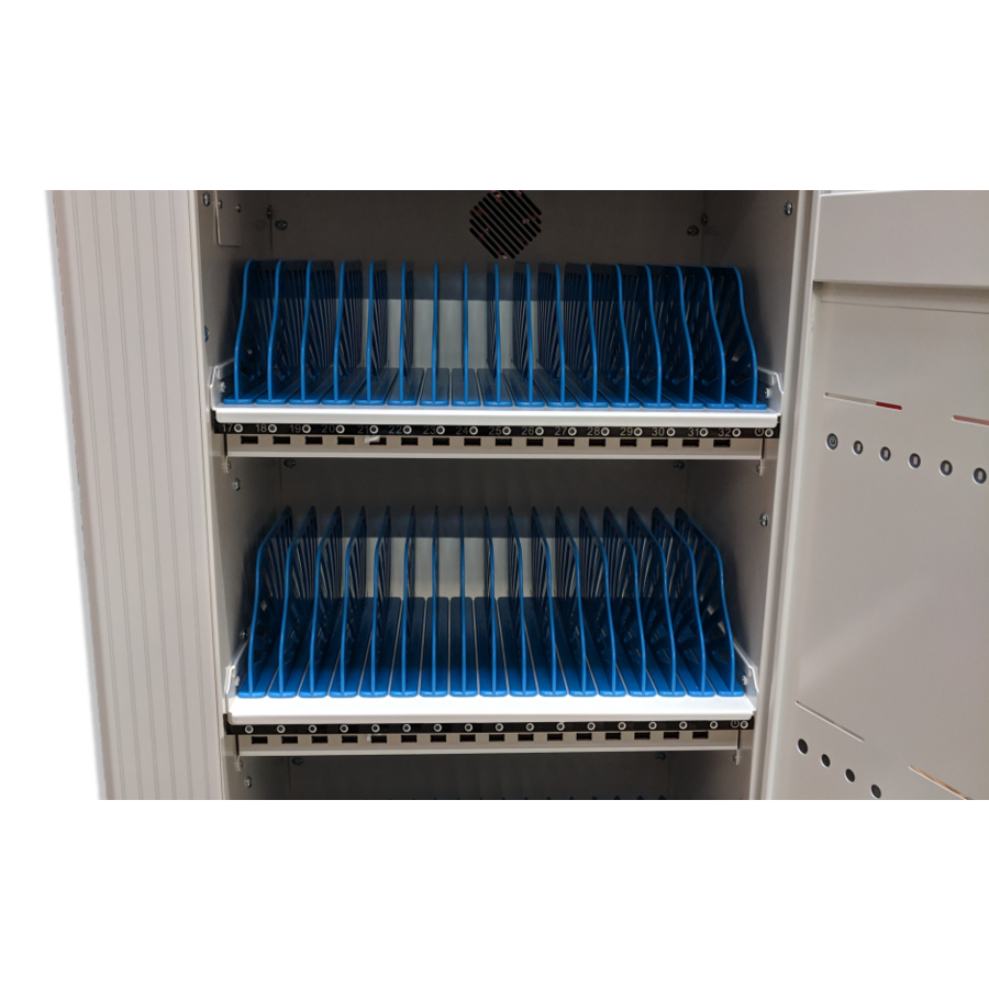 Mobile charging and synchronization station for 48 Tablets and iPads. Lockable cabinet on wheels with USB connectors to charge with one socket while storing.-3