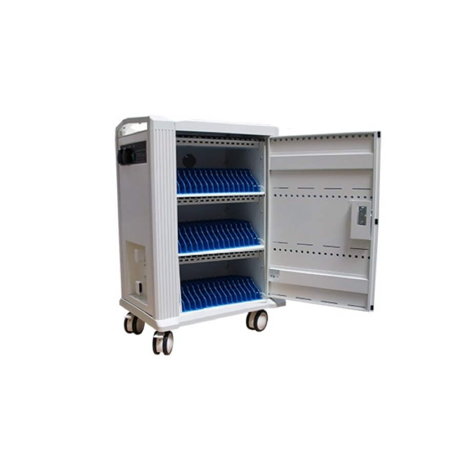 Mobile charging and synchronization station for 48 Tablets and iPads. Lockable cabinet on wheels with USB connectors to charge with one socket while storing.-1