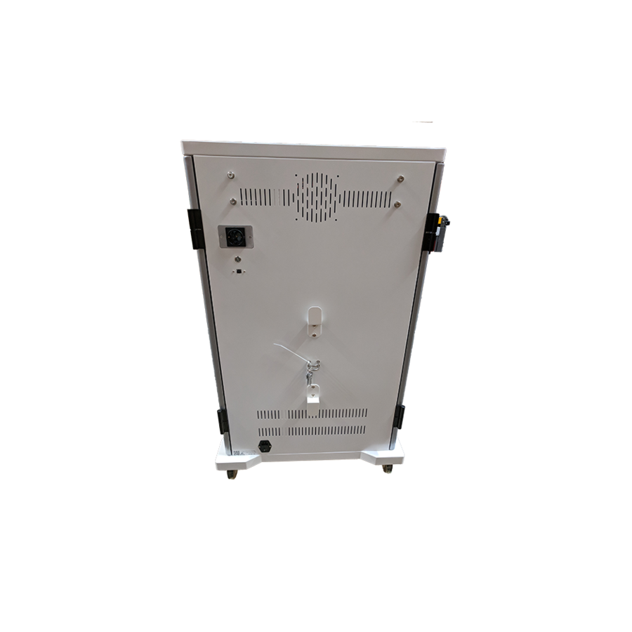 mobile charging station for 42 iPads, Tablets, Chromebooks. Solid and lockable cabinet on wheels with 220V connections. Charge with just one wall socket while in storage.-5