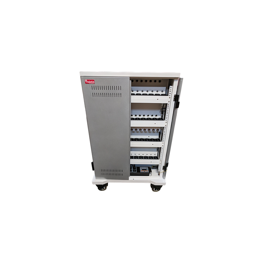 mobile charging station for 42 iPads, Tablets, Chromebooks. Solid and lockable cabinet on wheels with 220V connections. Charge with just one wall socket while in storage.-6