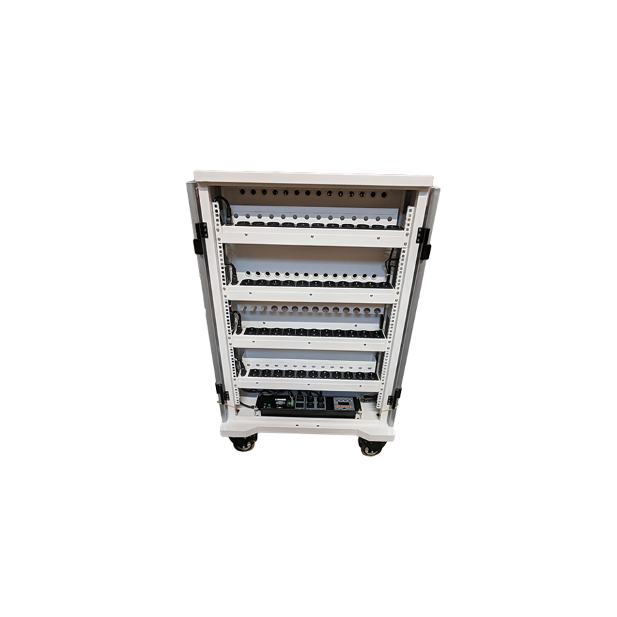 mobile charging station for 42 iPads, Tablets, Chromebooks. Solid and lockable cabinet on wheels with 220V connections. Charge with just one wall socket while in storage.-7