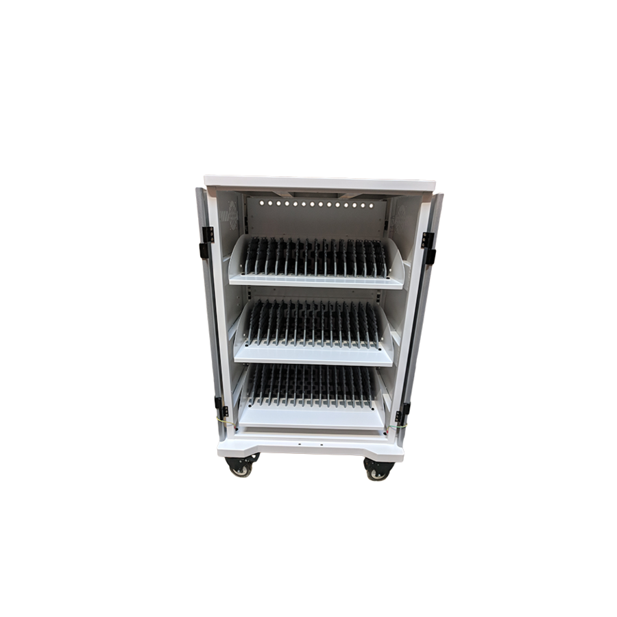 mobile charging station for 42 iPads, Tablets, Chromebooks. Solid and lockable cabinet on wheels with 220V connections. Charge with just one wall socket while in storage.-4