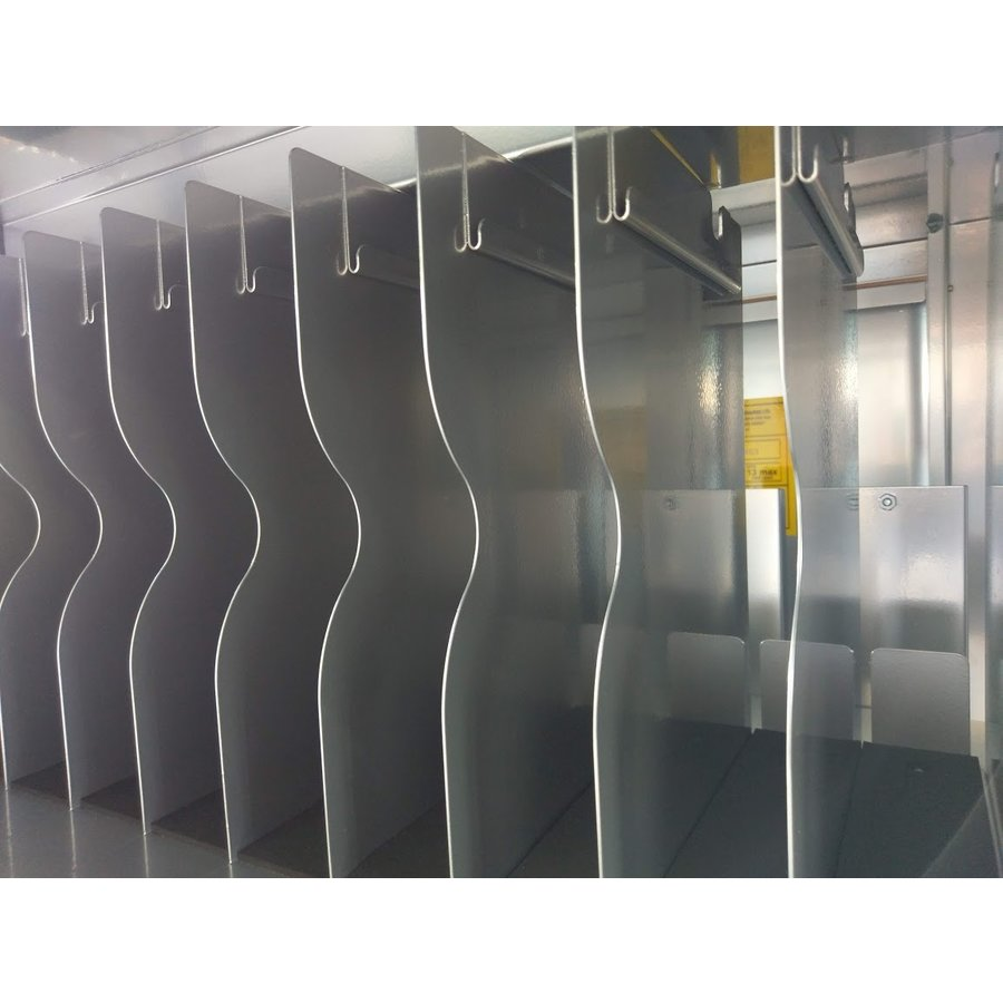 Mobile charging station for 16 Tablets and iPads. Lockable cabinet on wheels with mains connector strips to charge with one wall socket while storing-3
