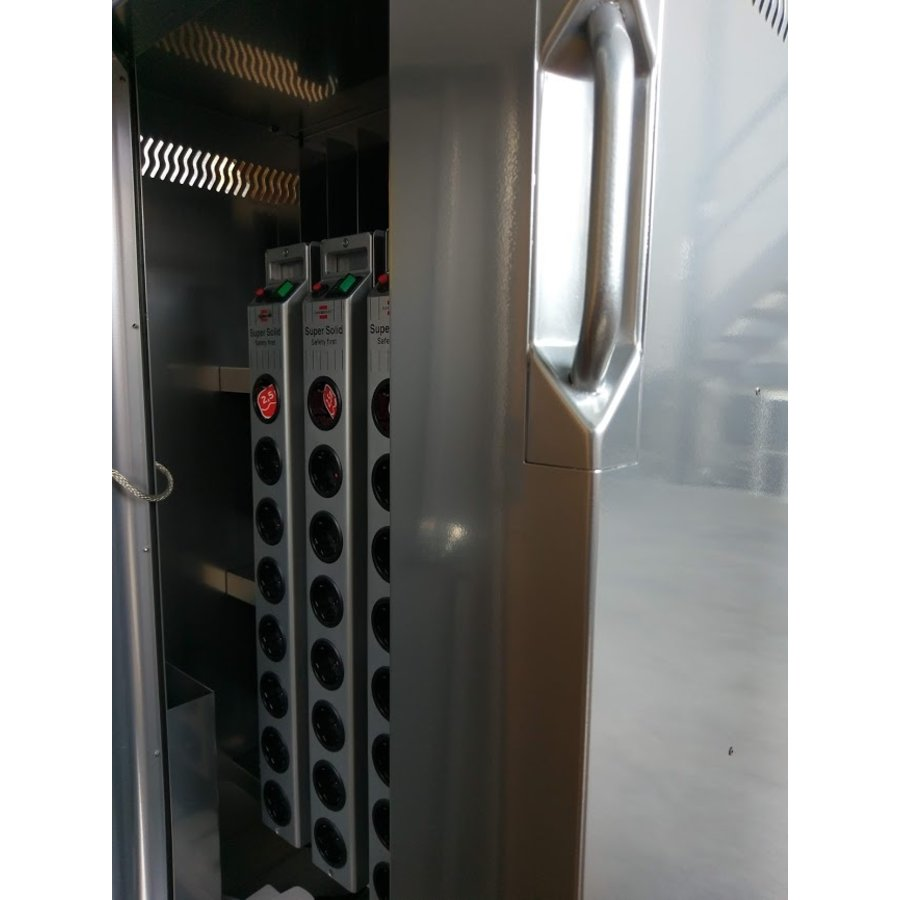 Mobile charging station for 16 Tablets and iPads. Lockable cabinet on wheels with mains connector strips to charge with one wall socket while storing-7
