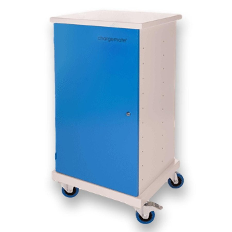 Mobile charging station for 20 Notebooks, Tablets and iPads. Lockable cabinet on wheels with mains connector strips to charge with one wall socket while storing-1