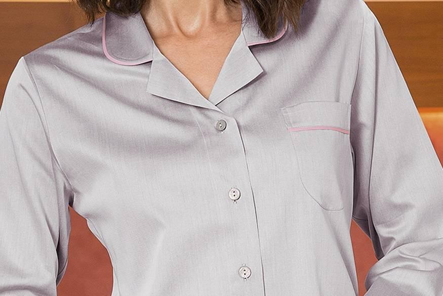 Novila   NOVILA Damen Pyjama Petra 8586 grau Biese rose