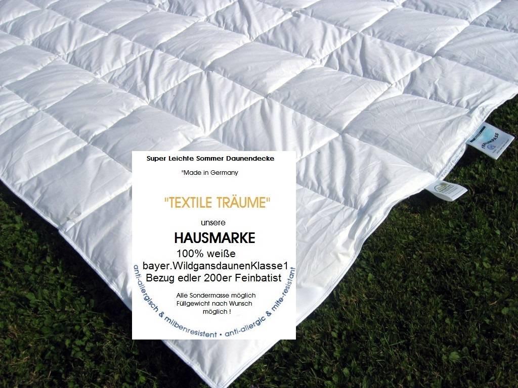 leichte sommer daunendecke sommerzudecke daunendecke leicht textile tr ume edle heimtextilien. Black Bedroom Furniture Sets. Home Design Ideas