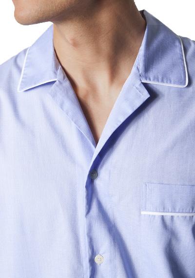 Novila Herren Nachthemd Novila Paul 8058-31-blau 5 Uni Popeline(Auch in Übergröße !)