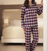 Novila Warmer Damen Schlafanzug  Helena 8040 rot-blau Gr.36-46