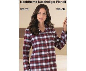 huge discount b44dd 7a6cf Novila Novila Warmes Damen Nachthemd Miriam 8040 rot-blau
