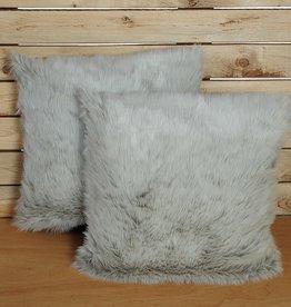 Momm - feine Bettwäsche Kissenbezug Fell  silber - Felloptik  2 Größen