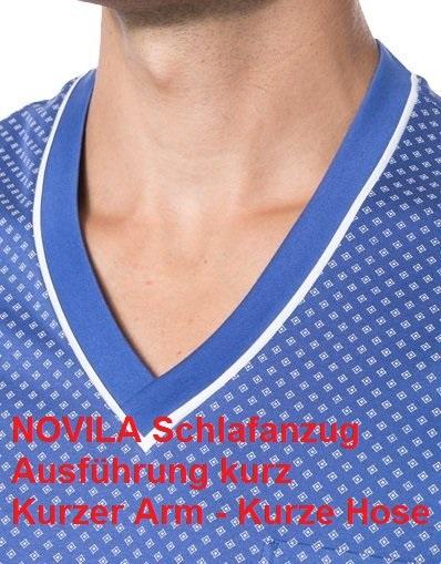 Novila Herren Schlafanzug Novila SIR 8090 kurz 1/2-Übergröße 62-68