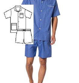 Novila Herren Schlafanzug Pyjama Patrick kurz 8058 mittelblau 105
