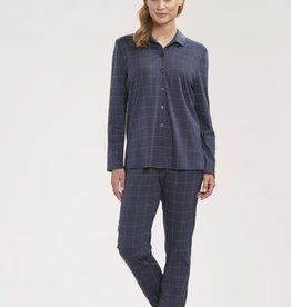 Féraud - Rösch FÉRAUD Paris High Class Damen Pyjama Karo Design Interlock Druck dunkelgrau