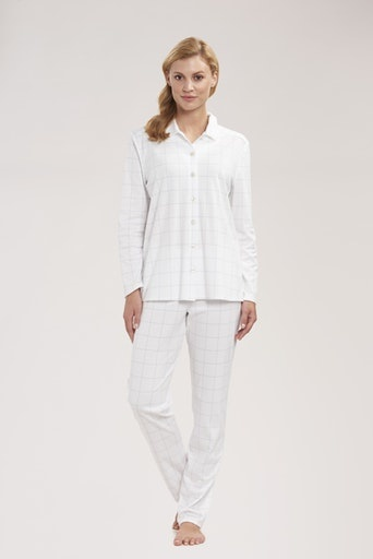 Féraud - Rösch   FÉRAUD Paris High Class Damen Pyjama Karo Design Interlock Druck ivoire