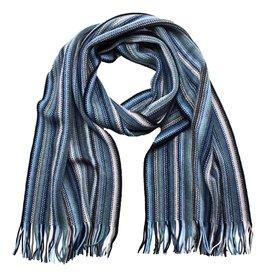 Eagle Produkts Raschel Schal blau 28x200 cm superfeine Lammwolle mit Fransen -