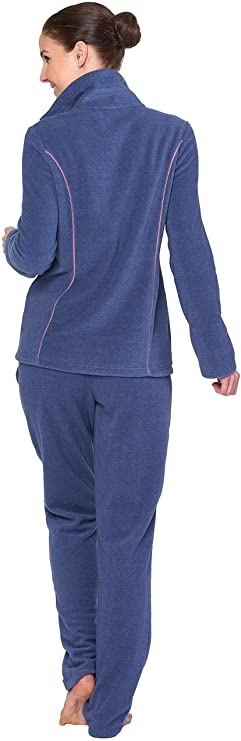 Féraud - Rösch  Rösch Kuscheliger Hausanzug Fleece blau-rose