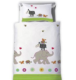 Kids Collection Kinder Bettwäsche Grün-Weiß-Fleuresse