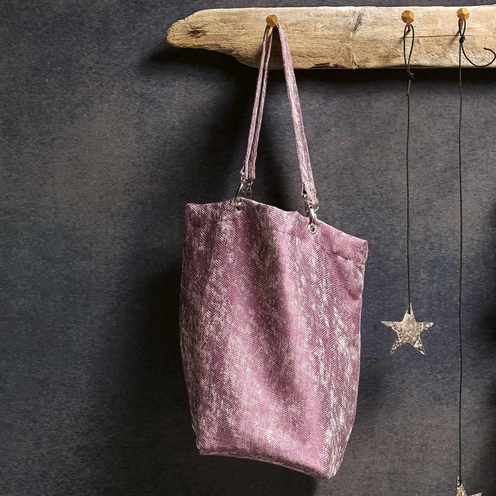 Leitner   Leitner Shopper - Handgefertigte Tasche aus Leitner Leinen -Des.258 Fb.purple 54