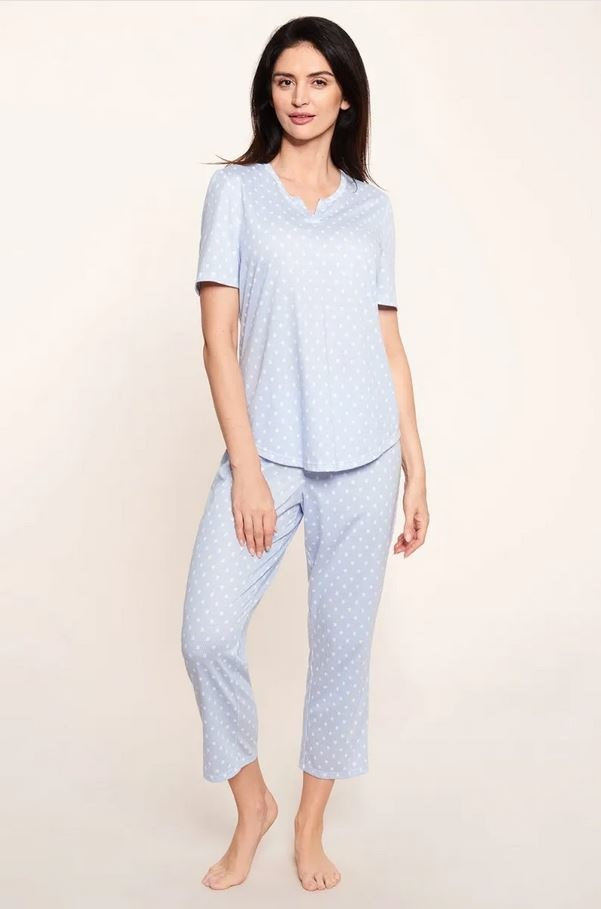 Féraud - Rösch    Rösch Damen Pyjama kurz 7/8 Tupfen Jersey 100% Baumwolle