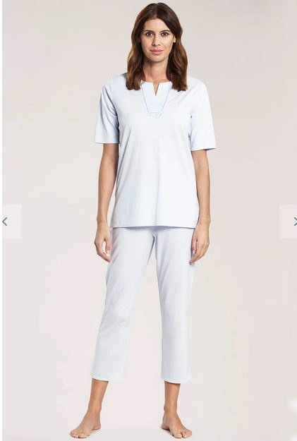 Féraud - Rösch  Féraud Damen Sommer Pyjama Kurzarm Tunika Schnitt mit 7/8 Hose-Fb.blau