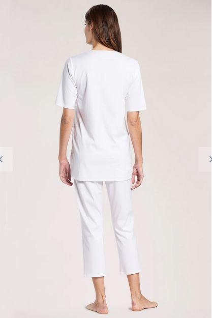 Féraud - Rösch  Féraud Damen Sommer Pyjama Kurzarm Tunika Schnitt mit 7/8 Hose-Fb.white
