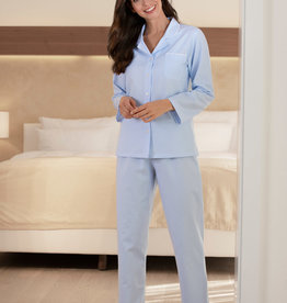 Novila Damen Flanell Schlafanzug  Petra 8681 Gr.36-46 hellblau