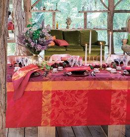 Garnier Thiebaut GT Tischdecke Damast Mille Folk cranberry-100% Baumwolle pflegeleicht