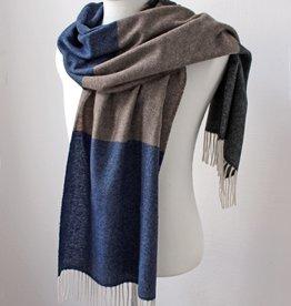 Eagle Produkts Eagle Products Schal Kaschmir 3-farbig - blau-grau-beige helle Fransen