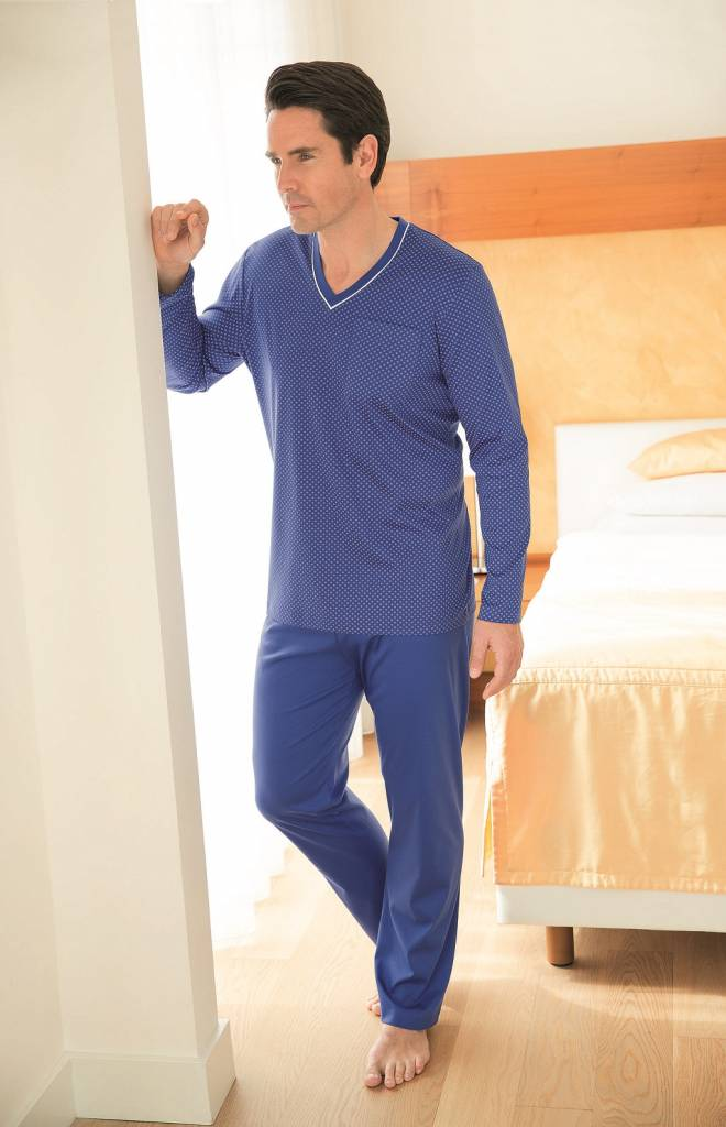 502de863fc Novila - Herren Luxus Pyjama -Schlafanzug Jersey bügelfrei - TEXTILE ...