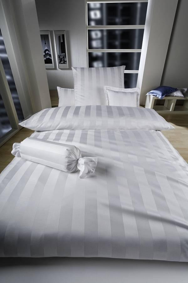 Curt Bauer Damast Bettwäsche Streifen Weiß Textile Träume