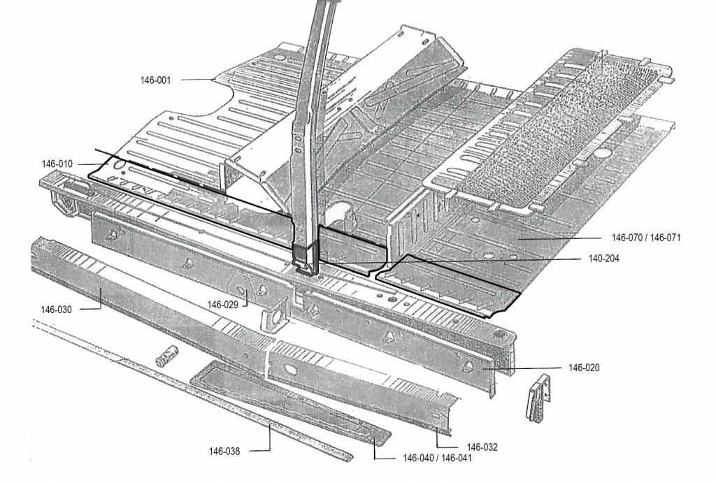 Repair panel central floor left 1,25mm Nr Org: DS74377
