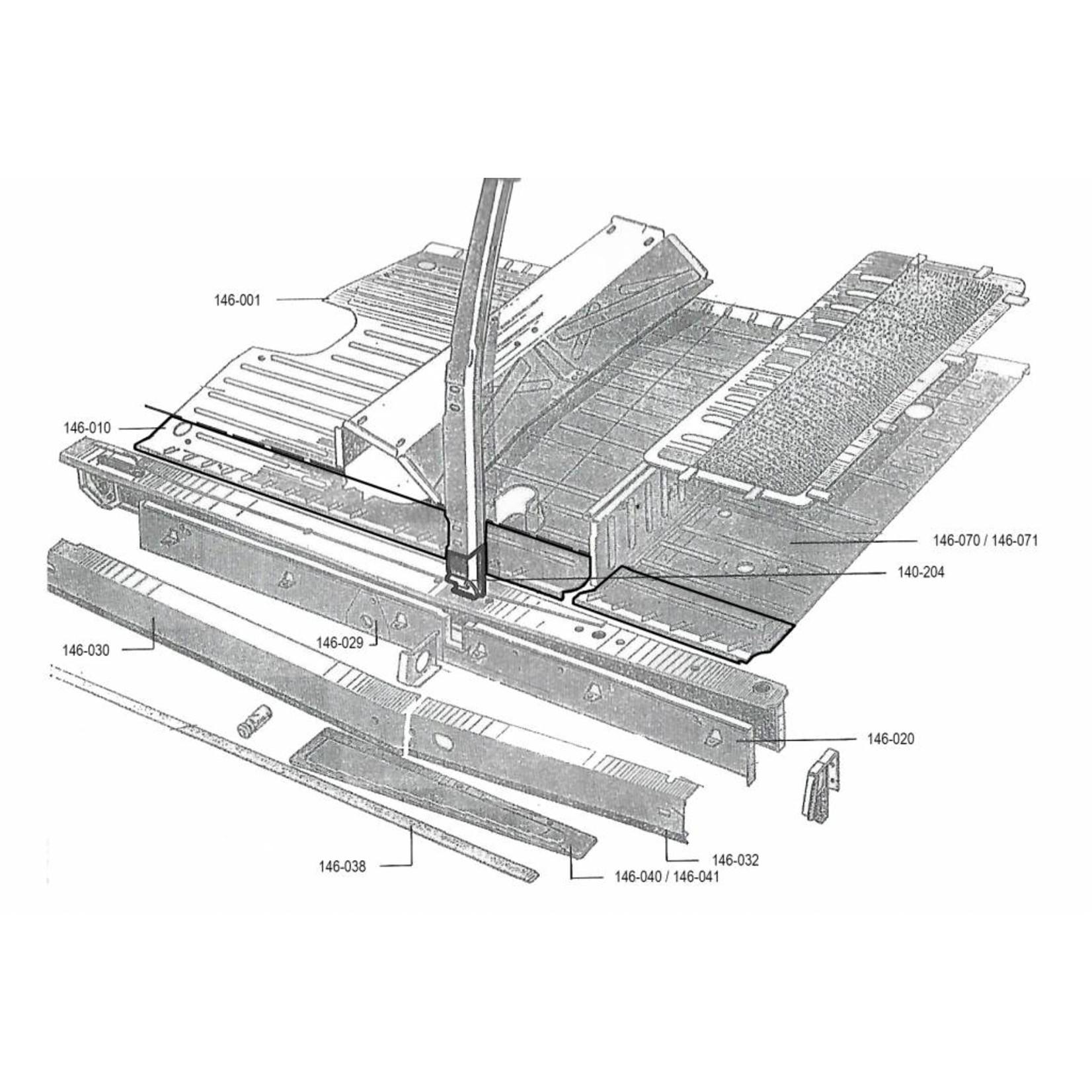Reparatiedeel b-stijl met rubberhouder links