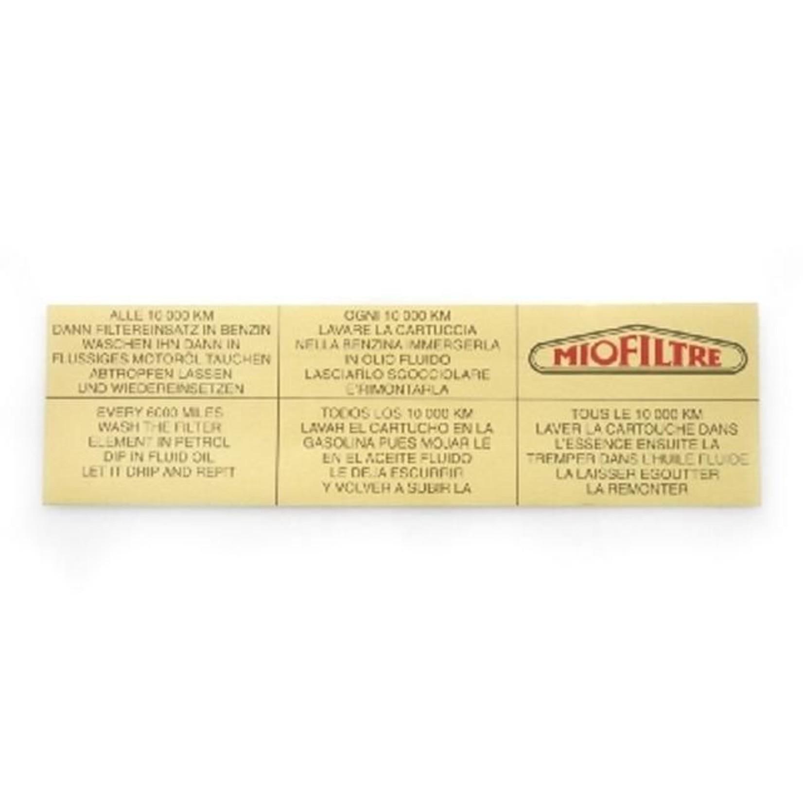 Sticker luchtfilter miofiltre