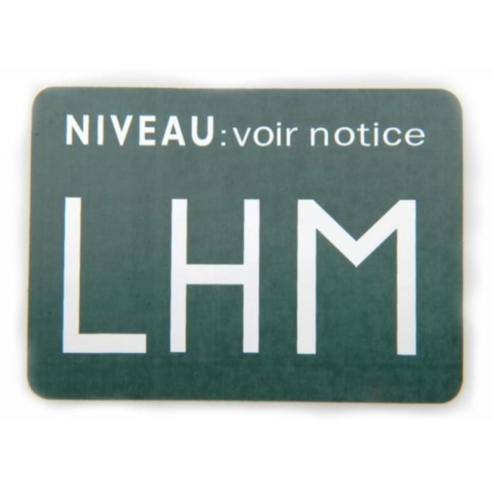 Sticker LHM boven voorraadvat