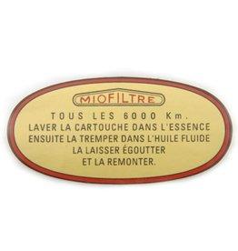 Sticker luchtfilter miofiltre -65 3 paliers