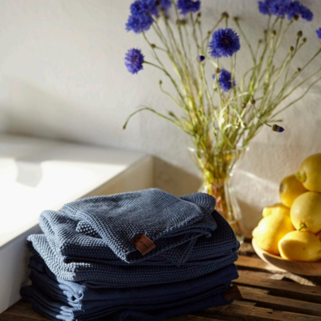 Gebreide handdoek Sea Blue