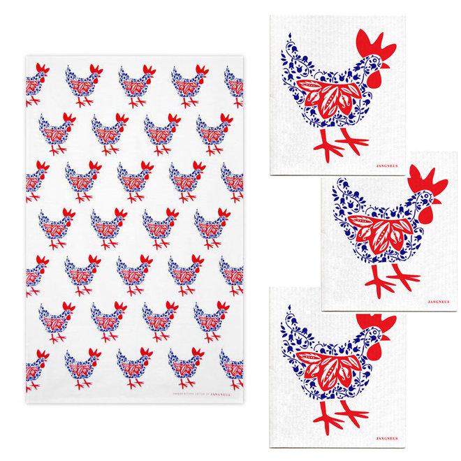 Kitchen textile set Hen