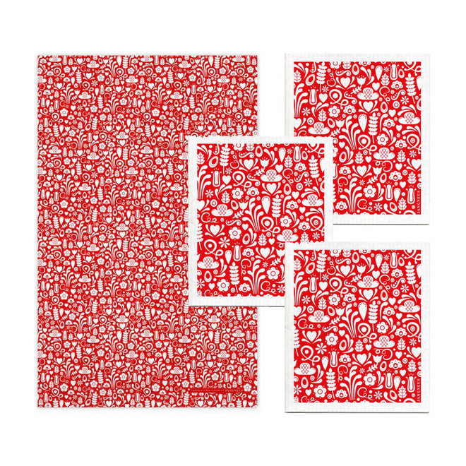 Kitchen textile set Dala red