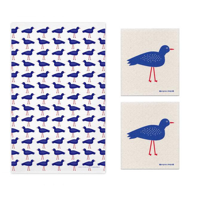 Kitchen textile set bird