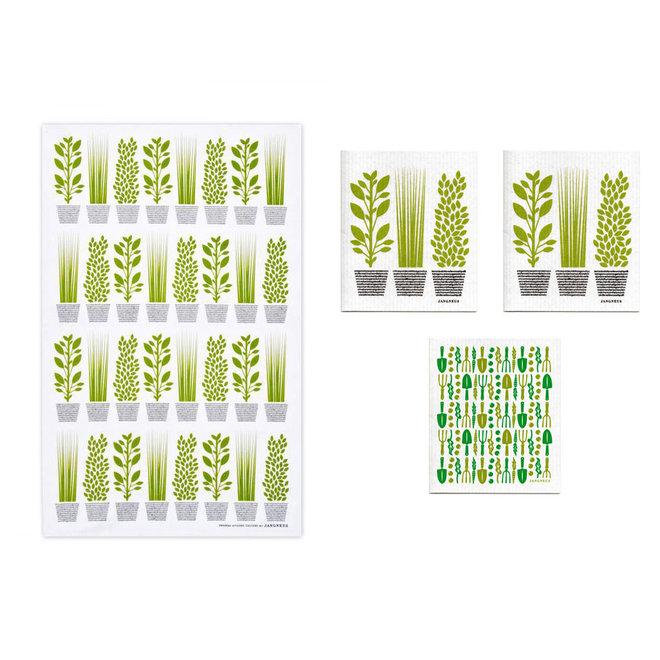 Kitchen textile set Herbs