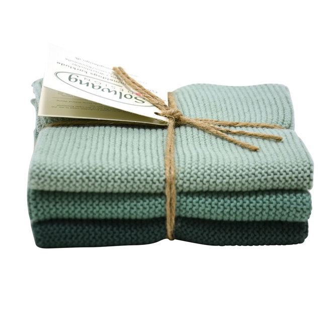 Set knitted dishcloths Rustic Green