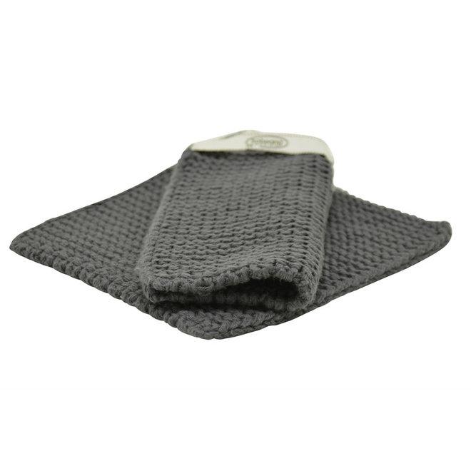 Set knitted potholders Dark Steel Grey