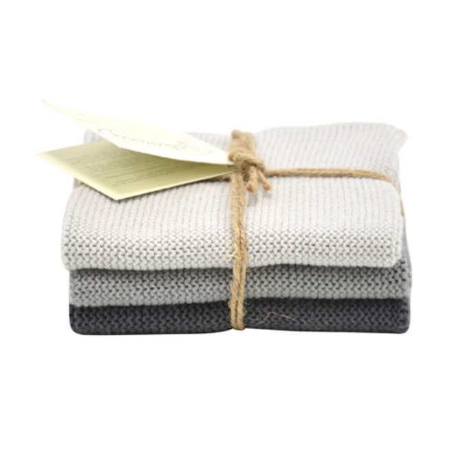 Set knitted dishcloths Steel grey